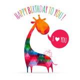 Cartão com o girafa colorido bonito Imagens de Stock