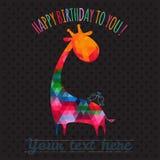Cartão com o girafa colorido bonito Foto de Stock Royalty Free
