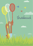 Cartão com o humor do verão, jogando o badminton Fotografia de Stock Royalty Free