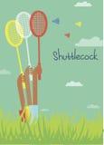 Cartão com o humor do verão, jogando o badminton Fotos de Stock Royalty Free