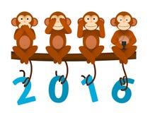 Cartão com o macaco pelo ano novo 2016 Fotografia de Stock Royalty Free