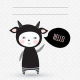 Cartão com o monstro bonito da criança Criança no traje Inv do partido Fotografia de Stock Royalty Free