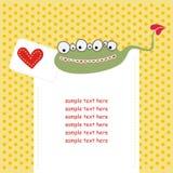 Cartão com o monstro bonito no amor Imagem de Stock
