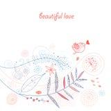 Cartão com o pássaro do amor acima das plantas Fotos de Stock Royalty Free