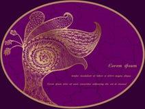 Cartão com o pavão abstrato do ouro Ilustração do Vetor