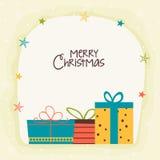 Cartão com o presente colorido para o Natal Foto de Stock