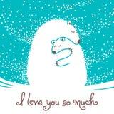 Cartão com o urso da mãe que abraça seu bebê Fotografia de Stock