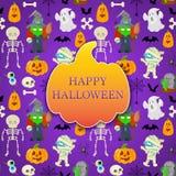 Cartão com objeto dos desenhos animados para Dia das Bruxas Fotografia de Stock