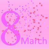Cartão com oitavo março para mulheres amados Imagem de Stock Royalty Free