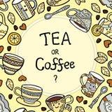 Cartão com os acessórios e o texto do chá da garatuja Imagem de Stock