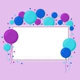 Cartão com os balões redondos grandes e Livro Branco Fotos de Stock Royalty Free