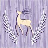 Cartão com os cervos na textura de madeira Imagem de Stock Royalty Free