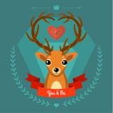 Cartão com os cervos no azul Imagem de Stock