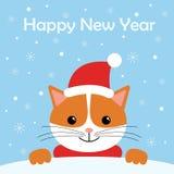 Cartão com os equipamentos bonitos do inverno do desgaste do gato Boas festas personagem de banda desenhada ilustração royalty free