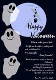 Cartão com os fantasmas engraçados no estilo das crianças Imagens de Stock Royalty Free
