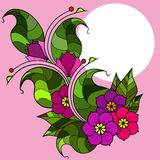 Cartão com os galhos abstratos com flores Imagem do vetor Fotografia de Stock Royalty Free