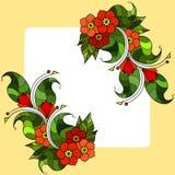 Cartão com os galhos abstratos com flores Imagem do vetor Imagens de Stock