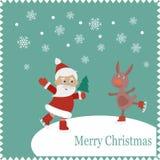 Cartão com os patins felizes de Santa e de coelho Imagem de Stock Royalty Free
