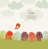 Cartão com ovos da páscoa e pássaro Imagens de Stock Royalty Free