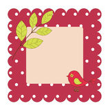 Cartão com pássaro e folhas Imagem de Stock Royalty Free