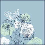 Cartão com pássaros e flores ilustração royalty free
