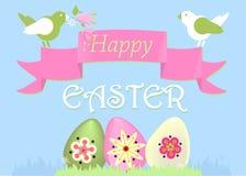 Cartão com pássaros e ovos da páscoa ilustração royalty free