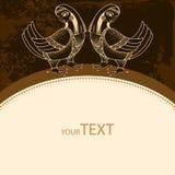 Cartão com pássaros mitológicos em um fundo escuro A série de criaturas mitológicas Fotos de Stock