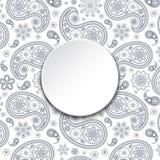 Cartão com paisley cinzento Fotografia de Stock