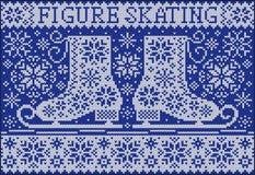 Cartão com patins Estilo feito malha Imagem de Stock