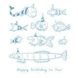 Cartão com peixes Fotos de Stock