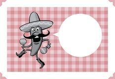 Cartão com pimenta de pimentão da dança dos desenhos animados com maracas Fotos de Stock