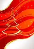 Cartão com pinho-árvore e estrelas Imagem de Stock Royalty Free