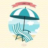 Cartão com poltrona e guarda-chuva da praia Fotos de Stock