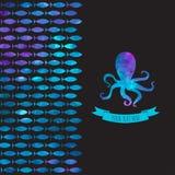 Cartão com polvo e os peixes coloridos Imagens de Stock