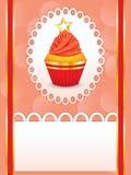 Cartão com queque do partido Imagens de Stock Royalty Free