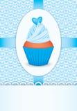 Cartão com queque e coração Fotos de Stock Royalty Free
