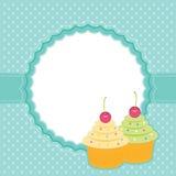 Cartão com queques. Foto de Stock Royalty Free