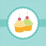 Cartão com queques. Imagem de Stock