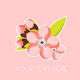 Cartão com ramo da flor do abricó Rosa liso sazonal sakura da ilustração do vetor da mola no estilo minimalista Imagens de Stock Royalty Free