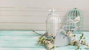 Cartão com ramos de árvore de florescência, coração e o pássaro decorativo Imagens de Stock