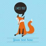 Cartão com raposa bonito Contexto do feriado Illustrati do vetor Imagem de Stock