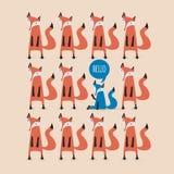 Cartão com raposas Imagens de Stock