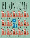 Cartão com raposas Seja original Fotos de Stock Royalty Free