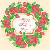Cartão com rosas cor-de-rosa Imagens de Stock