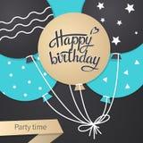 Cartão com rotulação do feliz aniversario Imagem de Stock Royalty Free