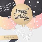 Cartão com rotulação do feliz aniversario Imagens de Stock