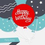 Cartão com rotulação do feliz aniversario Fotografia de Stock