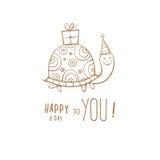Cartão com tartaruga Imagens de Stock Royalty Free