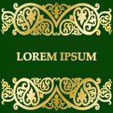 Cartão com teste padrão abstrato do ouro em um fundo verde Foto de Stock Royalty Free