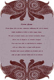 Cartão com teste padrão vinous abstrato Imagens de Stock Royalty Free